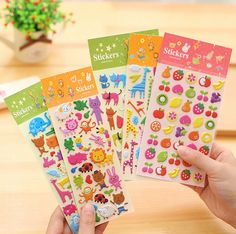 Cute Fruits And Animals 3D Cartoon Decorative Sticker Diary Album Label Sticker DIY Scrapbooking Stationery Stickers