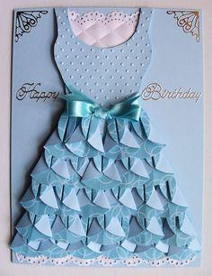 Baukje's Cards and Crafts: Dahlia fold Dress Homemade Birthday Cards, Homemade Cards, Diy Birthday, Happy Birthday, Paper Cards, Folded Cards, Dress Card, Dress Up, Cute Cards