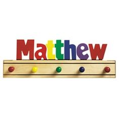 Need a unique gift? Send Kids Puzzle - Name Coat Rack - Primary and other personalized gifts at Personal Creations. Hanging Letters On Wall, Letter Wall, Personalized Puzzles, Personalized Gifts, Kids Coat Rack, Coat Racks, Coat Hanger, Clothes Hooks, Wooden Names