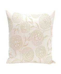 Antique Flowers 16 Inch White and Off White Decorative Floral Throw Pillow - White