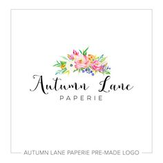 Premade Logo Design Watercolor Flower By AutumnLanePaperie
