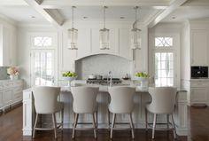 Cream white kitchen. Gorgeous cream white kitchen with coffered ceiling, dark…