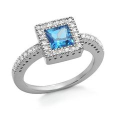 Solitaire Princess Cut Blue Topaz and Diamond Gemstone Ring in White Gold Blue Topaz Diamond, Diamond Gemstone, Gemstone Rings, Blue Sapphire, Unique Rings, Beautiful Rings, Diamond Solitaire Rings, Sapphire Rings, Ring Stores