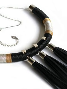 Contemporary Textile Beaded Rope Necklace by TangeloTree on Etsy, $175.00