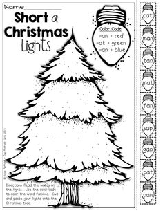 Color the Christmas lights by word family!  (cut and paste the lights onto the Christmas tree)!