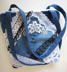 Denim White Lace Purse Shoulder Bag Handmade Featured Haute Handbags Magazine | eBay