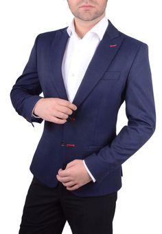 Chaqueta Hombre Americana Azul tejido rico en lana www.lacolonial.eu
