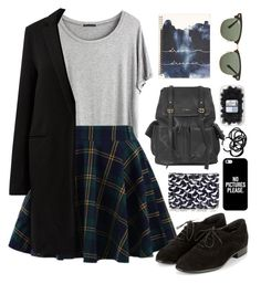 """Back to School"" by anfisa-1996 ❤ liked on Polyvore featuring Chicnova Fashion, H&M, Chicwish, Casetify, Topshop, Ray-Ban and Kate Spade"