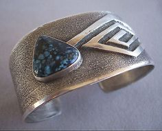 Signed NAVAJO Webbed Turquoise & Sterling Silver TUFA CAST Cuff BRACELET, Yazzie