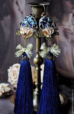 """Купить Серьги """"Мания величия"""" Reserved - разноцветный, синий, золотой, длинные серьги, роскошные серьги"""