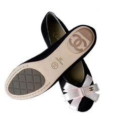 Chanel Black Suede Flats