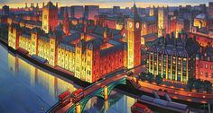 "Saatchi Art is pleased to offer the painting, ""Westminster,"" by Jim Edwards. Original Painting: Acrylic on N/A. Unique Buildings, City Buildings, Norwich School, Professional Painters, Building Art, Westminster, Landscape Paintings, Landscapes, Contemporary Paintings"