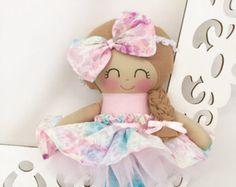 Muñeca suave, muñeca - Rosa tela muñeca de trapo