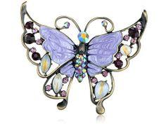 Rose Pink Clear Crystal Rhinestone Hand Painted Enamel Huge Butterfly Pin Brooch…