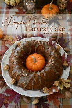 Pumpkin-Chocolate Harvest Bundt Cake with Bourbon-Pecan Glaze A cake ...