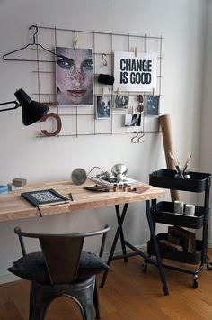 Wall Hanging + Butcher Block Desk