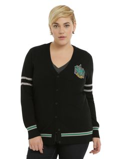 Join the Slytherin house with this varsity cardigan from  Harry Potter ! Black cardigan featuring an embroidered Slytherin crest design. Front button closure.       71% rayon; 29% polyester    Hand wash cold; dry flat    Imported    Listed in plus sizes