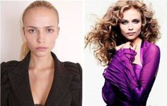 Famous models with and without hair and makeup. You'd look like a supermodel too with a whole make-up & hair team, lighting director, top end photographer, and photoshop artist. Makeup Photoshop, Model Photoshop, Photoshop Effects, Victorias Secret Models, Top Models, Victoria's Secret, Models Without Makeup, Natasha Poly, Fashion Models