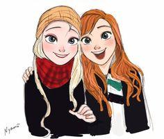 Modern day Anna and Elsa this is tooooo cuutteeee I'm done