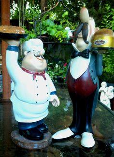 Collectible Italian/French Bistro Chef & Garcon (Waiter) Figurine Statue Set | eBay Bistro Kitchen, Chef Kitchen Decor, Kitchen Ideas, French Bistro, Biscuit, Garden Sculpture, Bistros, Kitchen Things, Statue