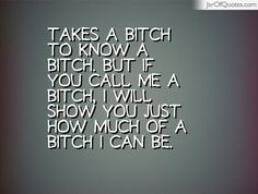 Takes a bitch to know a bitch. But if you call me a bitch, I will show you just how much of a bitch I can be.  #quotes #love #sayings #inspirational #motivational #words #quoteoftheday #positive