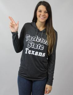 Show off your Tarleton State pride with this hooded lightweight long sleeve! GO TEXANS!