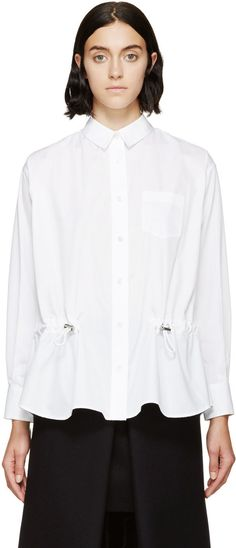 Sacai Luck White Drawstring Vented Shirt