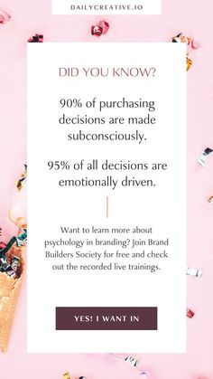 Emotions play a huge role in decision making. It means that your customers are making decisions based on the gut feeling — a Gut Feeling your branding and marketing gives them, a gut feeling that is sometimes formed in a matter of seconds. Want to learn more about psychology in branding? Join Brand Builders Society for free and check out the recorded live trainings. #branding #brandguidelines #marketing #logodesign Digital Marketing Business, Digital Marketing Trends, Digital Marketing Strategy, Online Business, Media Marketing, Making Decisions, Decision Making, Business Motivation, Business Quotes