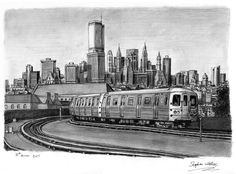 New York Subway Train - drawings and paintings by Stephen Wiltshire MBE