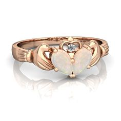 Opal Claddagh 14K Rose Gold ring R2388 - front view