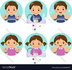 Kids washing and cleaning hands with bubbles soap vector image on VectorStock All About Me Preschool, Preschool Math, Ks1 Classroom, Hand Washing Poster, Logos Retro, Adobe Illustrator, School Posters, School Hacks, Balloons