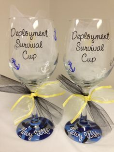 Navy Wife Deployment Survival Wine Glass by LilyLuGifts on Etsy, $15.00