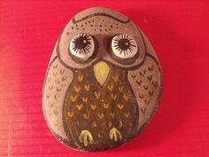Vintage Stone Owl Figurine Oil Painting on Stone Figurine Painted Rock 4   eBay