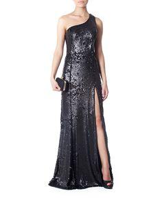 $909 Vestido longo um ombro só bordado de paetês e pedrarias - Vestidoteca