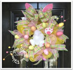 "Easter Bunny Egg Pastel and Tan Wreath #WR2104 Measures about 20"" in diameter. Sprinkled with Pastel Plaids, Glitter Eggs, Bunny Paws and Bunny Ears"
