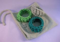 Recycled Tshirt bracelet cuffs in shades of by RutabagaSister, $10.00