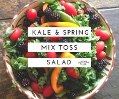 Fresh, delicious kale and spring mix salad to stay healthy this spring and summer! Kale Recipes, Good Healthy Recipes, Healthy Dinners, Healthy Food, Pea Salad, Kale Salad, Spring Mix Salad, Large Salad Bowl, Slow Cooking