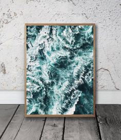 Ocean Waves Print - Sea Water Wall Art, Digital download, Beach house decor, Blue Room decor, Seaside Photography, Surfer gift, Coastal Life