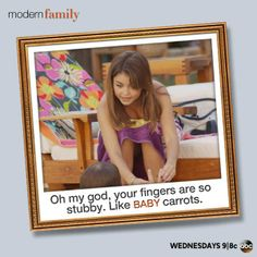 Baby Carrots ~ Modern Family ~ Season 5 ~ Quotes Modern Family Season 5, Comedy Tv Shows, Tv Shows Funny, Will And Grace, How I Met Your Mother, Baby Carrots, The Simpsons, Big Bang Theory, Disney Channel