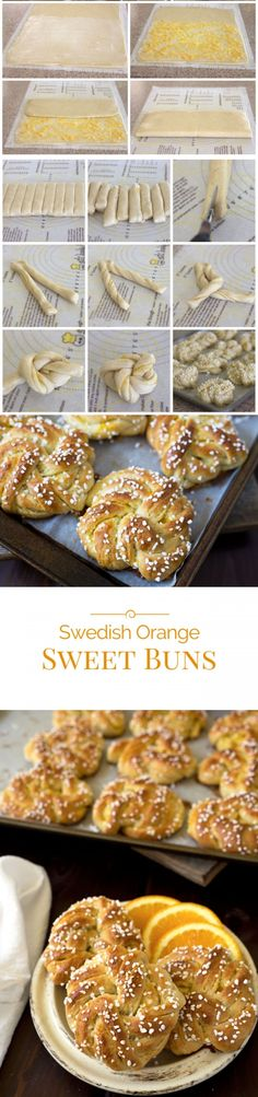 Swedish Orange Sweet Buns made with a buttery, cardamom dough layered with fragrant orange sugar, then knotted, topped with crunchy Swedish pearl sugar and baked until they're golden brown. Pastry Recipes, Cooking Recipes, Brunch Recipes, Dessert Recipes, Swedish Cuisine, Pearl Sugar, Sweet Buns, Scandinavian Food, Swedish Recipes