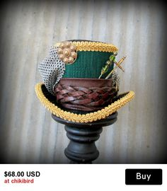 Green Gladiator Mini Top Hat, Emerald Green Mini Top Hat, Mad hatter Hat, Alice in Wonderland Mini Top Hat, Tea Party, C