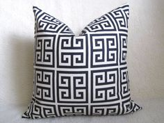 Custom for Charissa - Designer Decorative Greek Key Pillow - Squares - Navy Blue and Cream - 22 inch. $64.00, via Etsy.  I'm a little obsessed with this pattern.