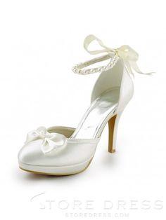 Satin Spool Heel Closed Toe Platform Pumps Wedding Shoes With Bowknot Imitation Pearl Ribbon Tie