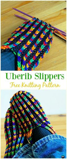 Uberib Slippers Free Knitting Pattern – adult slippers Free pattern , Uberib Slippers Free Knitting Pattern – Adult Free Patterns , Crochet and Knitting Source by diyhowtogroupie Knitting Loom Socks, Loom Knitting Patterns, Crochet Socks, Knitting Stitches, Free Knitting, Knitting Projects, Knit Crochet, Crochet Patterns, Free Crochet