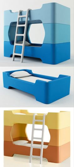 If you have 2 babies, you may like this. The bed is designed by Marc Newson . It is like Lego bricks and you can turn it into 2 single beds or 1 bunk bed.