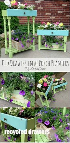 15 Brilliant Repurposing Projects for Old Drawers If you've been looking for a way to repurpose old dressers or cabinets, I have a treat for you! I've found 15 amazing and unique ways that you can use old drawers and make them Painting Old Furniture, Furniture Projects, Furniture Makeover, Garden Furniture, Diy Furniture, Chair Makeover, Furniture Refinishing, Furniture Online, Discount Furniture