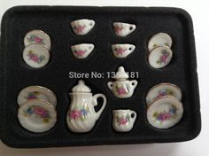 Find More Kitchen Toys Information about 1:12 Cute MINI Dollhouse Miniature kitchen white china ceramic floral tea set 15 pcs,High Quality ceramic dinner set,China ceramic utensil Suppliers, Cheap ceramic cookware set from Cool items on Aliexpress.com