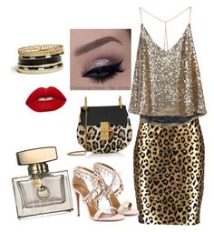 Goldrausch by jasmina-hrnjicic on Polyvore featuring polyvore moda style Milly Aquazzura Chloé GUESS Lime Crime Gucci fashion women's clothing women's fashion women female woman misses juniors
