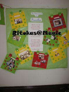 Celebração do dia da Familia - As crianças recortaram o feltro, cozeram os botões e pintaram com os carimbos e colaram as fotos