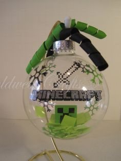 Minecraft Floating Glass Ball Christmas Ornament from GoldWebCrafts on Etsy. Shop more products from GoldWebCrafts on Etsy on Wanelo. Diy Xmas Ornaments, Vinyl Ornaments, Christmas Baubles, Holiday Crafts, Christmas Decorations, Christmas Vinyl, Christmas Fun, Holiday Fun, Minecraft Christmas